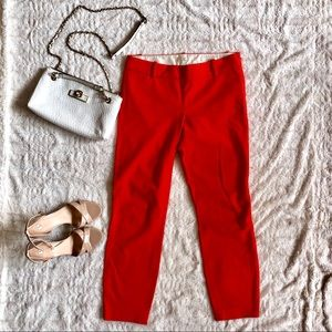 J.Crew Minnie Cropped Pants in Vibrant Flame sz 0
